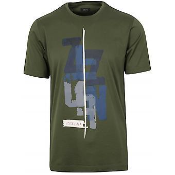 Z Zegna Dark Green Graphic Logo T-Shirt