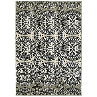 Linden 7818a navy/ ivory indoor area rug rectangle 5'3