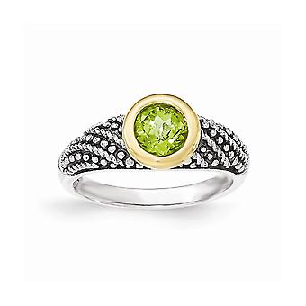 925 Sterling Argent Avec 14k Peridot Ring Jewelry Gifts for Women - Ring Size: 7 to 8
