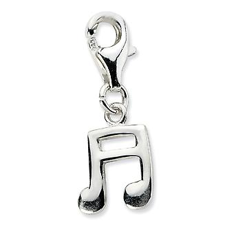 925 Sterling Silver Rhodium plated Fancy Lobster Closure Polished Beamed Sixteenth Note With Lobster Clasp Charm Pendant