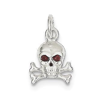 925 sterling sølv solid polert åpen rygg CZ cubic zirconia simulert diamant hodeskalle sjarm anheng halskjede smykker gi