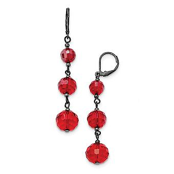 Leverback Negro Plateado Negro plateado Rojo Cristal Abalorio lineal larga gota colgante pendientes joyería regalos para las mujeres