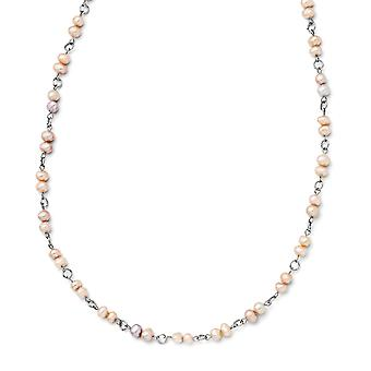 Stainless Steel Slip on Polished Slip-on Freshwater Cultured Pearl Necklace - 34 Inch