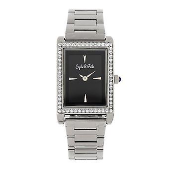 Sophie and Freda Wilmington Bracelet Watch w/Swarovski Crystals - Silver