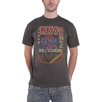 KISS T Shirt Destroyer Tour 78 Japan Band Logo nuevo oficial hombre carbón gris