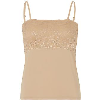 Slenderella GL2715 Women's Gaspe Skin Beige Floral Lace Camisole Top