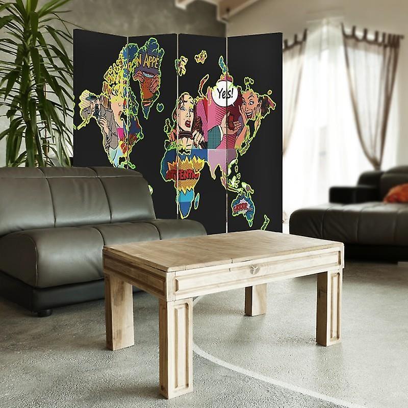 Room Divider, 4 panneaux, Toile, Black Pop Art Map Of The World