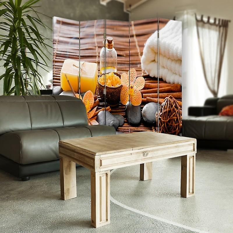 Diviseur de chambre, 5 panneaux, double-sided, 360 rotatable, toile, accessoires de spa