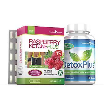 Himbeerketon Plus und Entgiftung Darmreinigung Combo Pack - 1 Monat Versorgungsmaterial - Fatburner und Darmreinigung - Evolution abnehmen