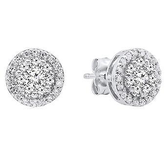 0.50 Carat (ctw) 10K White Gold Round White Diamond Ladies Cluster Stud Earrings 1/2 CT