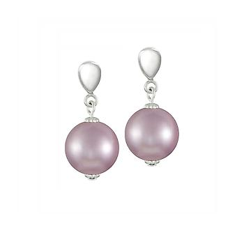 Eternal Collection La Perla Lilac Shell Pearl Silver Tone Drop Screw Back Clip On Earrings
