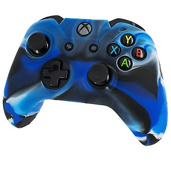 Soft silicone rubber skin grip cover for xbox one controller with ribbed handle - camo blue