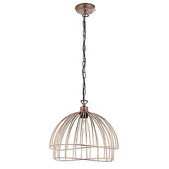 Endon Jericho 1 Light Pendant Light Copper Plate 77975