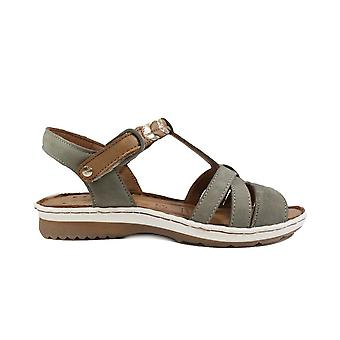 Tamaris 28603 Olive Nubuck Leather Womens T Bar Strapy Sandals