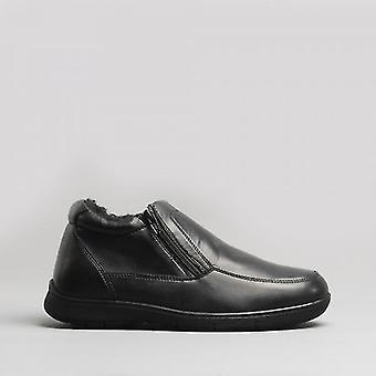 Dr Keller Bert Mens Leather Ankle Boots Black