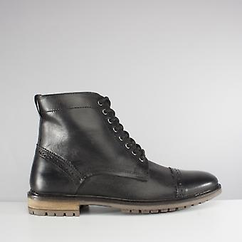 Silver Street London Monmouth Mens Leather Brogue Derby Boots Black
