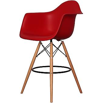 Charles Eames Style Red Plastic Bar Stool With Arms