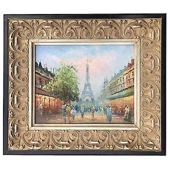 Paris, oljemålning med ram, 20x25 cm