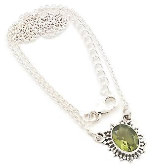 Peridot Necklace 925 Silver Sterling Silver Chain Necklace Green (MCO 12-59)