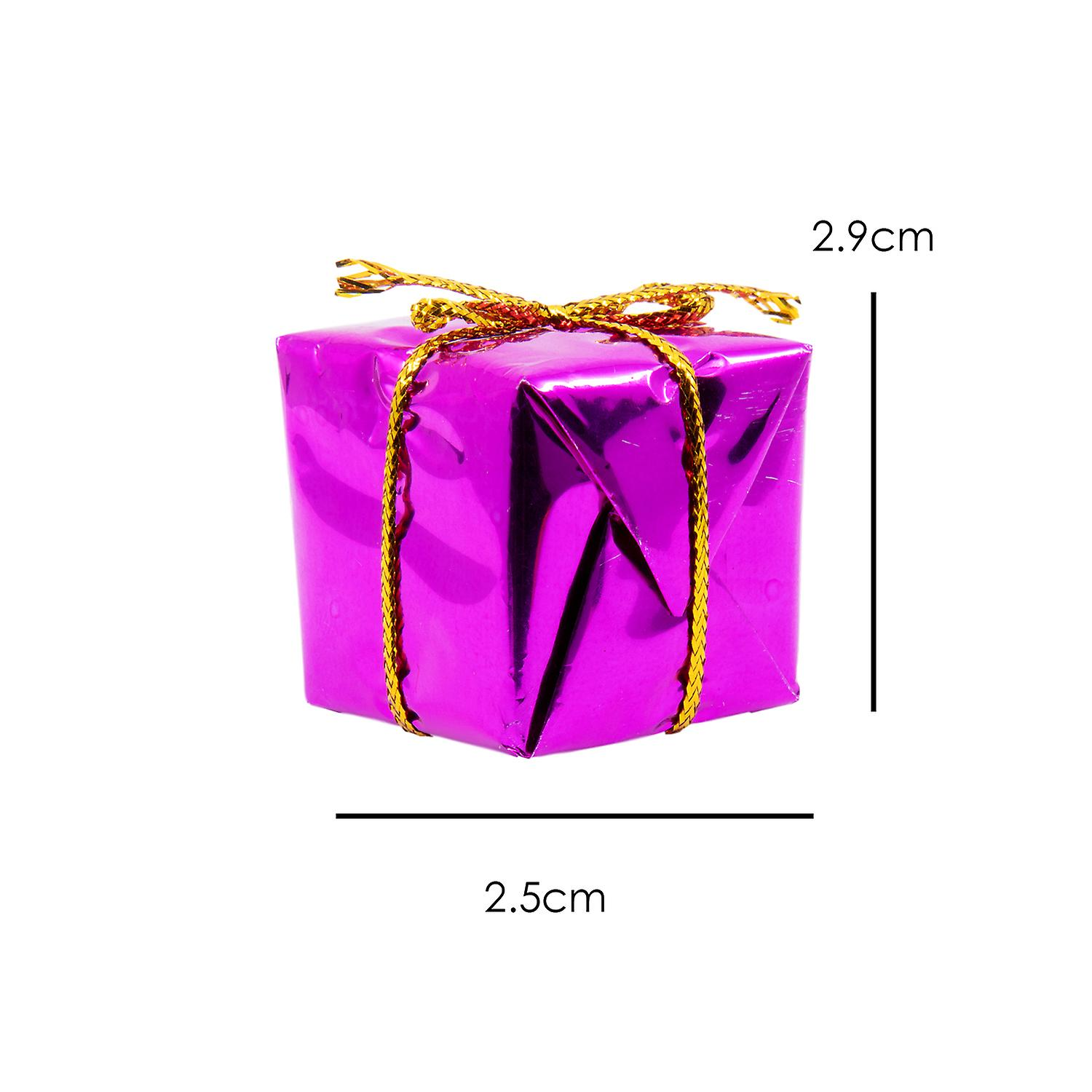 TRIXES Set of 12 Glitzy Christmas Box Hanging Tree Decorations in Assorted Colours