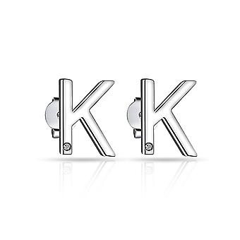 Initial earrings letter k created with swarovski® crystals