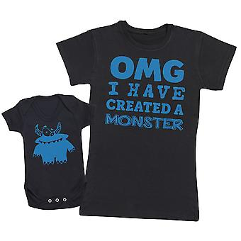 OMG I've Created A Blue Monster!- Mothers T-Shirt & Baby Bodysuit