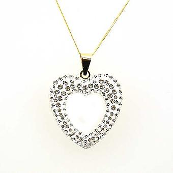 TOC 9ct Yellow Gold Large Heart Pendant made with Swarovski crystals