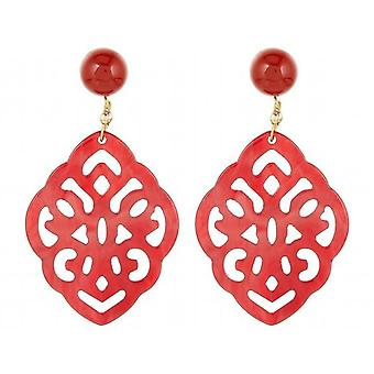 Gemshine Earrings Red Carnels, Tortoise Resin Drops - 925 Silver Plated
