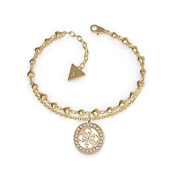 TROPICAL SUN UBB78026 Guess Armband - Armband Stahl Dor Doppel Cha c? Urs Pampille 4G Frau Swarovski-Kristallen