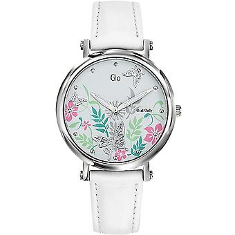 Shows Go Girl Only 699098 - Bracelet white silver flowers dial steel case leather woman