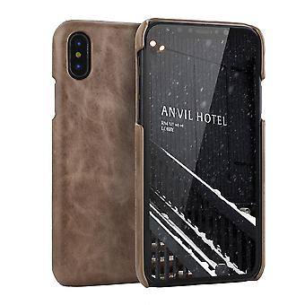 For iPhone XS MAX Cover,Modern Genuine Leather Back Shell Phone Case,Coffee