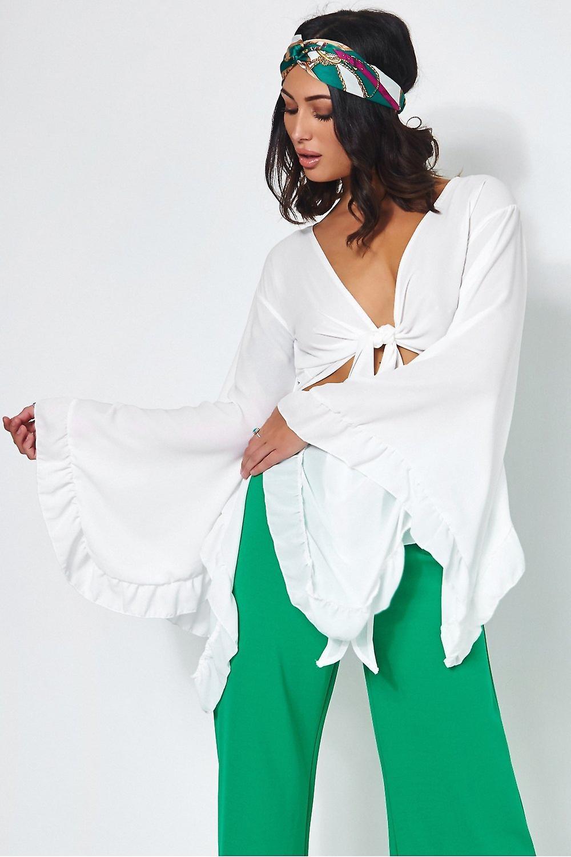 Valentina Tie Front Wide Sleeve Crop Top