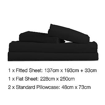 "4 Piece Microfibre Sheet Set à ¢ ⠂¬ "" Zwart"