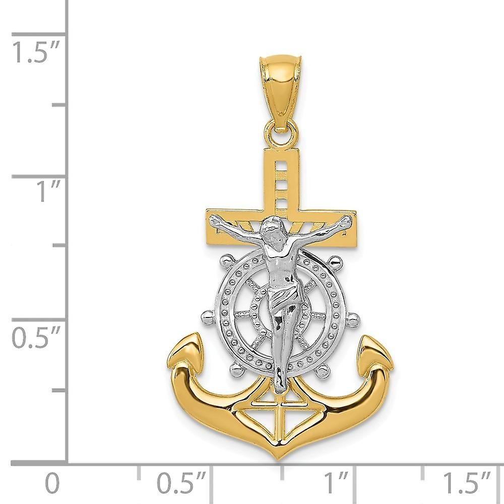 19mm 14k With Rhodium Polished Mariners Crucifix Pendant Necklace Jewelry Gifts for Women