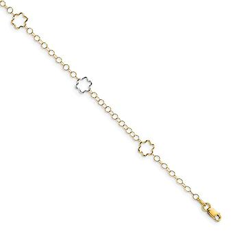 14k Two tone Gold Polished With 1inch Ext. Anklet 10 Inch Jewelry Gifts for Women - 1.8 Grams