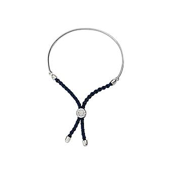 925 Sterling Silver Rhodium Plated Bar Dark Blue Braided Macrame Bracelet 7 Inch Jewelry Gifts for Women