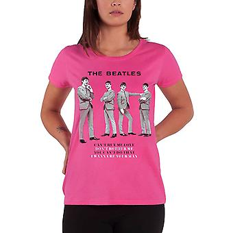 I Beatles You Cant Do That Official Womens New Official Pink skinny fit T Shirt