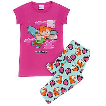 Minecraft Alex Girl's Short Sleeve T-Shirt/Trouser Pyjama Set in Pink and Blue