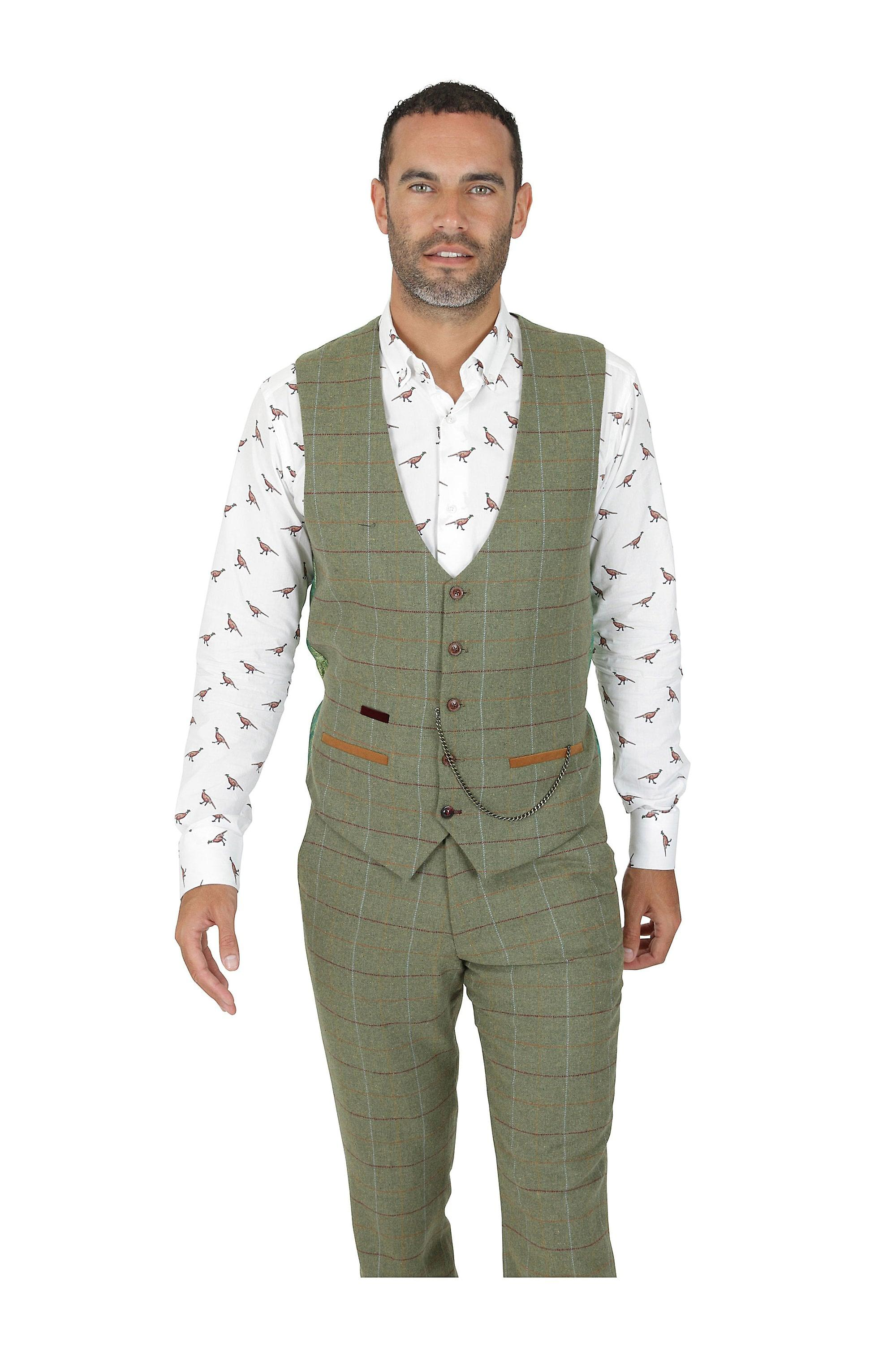 Marc Darcy Ellis Moss Green Tweed Check Single Breasted Waistcoat