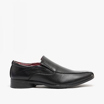 US Brass Raven Mens Faux Leather Slip On Shoes Black