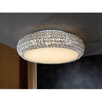 Schuller Diamond - Grande lampe de plafond en métal, finition chromée. Ombre en verre composée de cristaux carrés clairs. Diffuseur en verre opale inférieur inclus. - 507130
