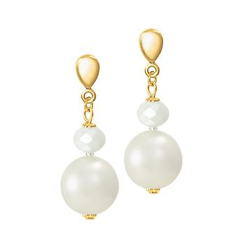 Eternal Collection Triumphant Shell Pearl And Crystal Gold Tone Drop Clip On Earrings