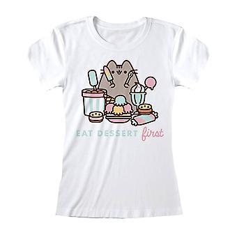 Women's Pusheen Eat Dessert First Fitted White T-Shirt - Ladies Cat Tee