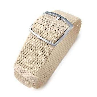 Strapcode fabric watch strap 20mm, 22mm miltat perlon watch strap, beige, sandblasted ladder lock slider buckle