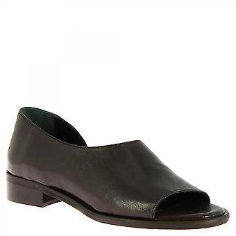 Leonardo Schuhe Frauen's handgemachte Mode Slip-on niedrige Sandalen schwarzes Kalbsleder