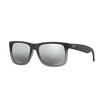 Ray-Ban Justin RB4165 852/88 Gummi Grå Transparent Grå / Grå Silver Spegel Gradient Solglasögon