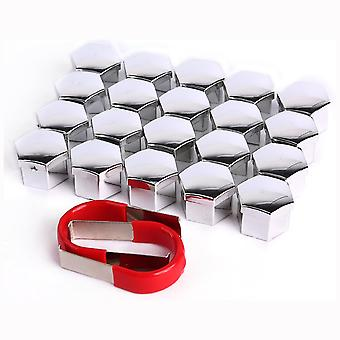 20x Covering Caps for Wheel Bolts | 20 Pieces | With Extractor Tool | 17mm | Chrome