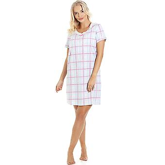 Camille Blue And Pink Checkered Cotton Nightdress