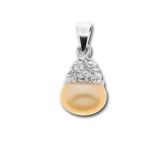 Toc Sterling Silver Peach Freshwater Pearl and Crystal Wedding Pendant
