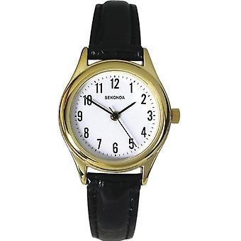 Sekonda Ladies White Dial Black Strap Watch 4493